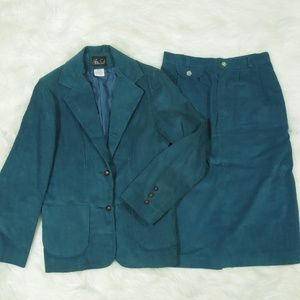 Vintage Skirt Set Teal Corduroy Suit